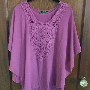 Purple Love Stitch Flutter Sleeve Shirt